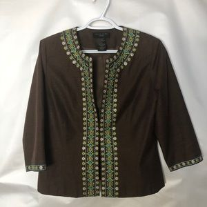 Silkland brown jacket 3/4 sleeves embroidered Sz L
